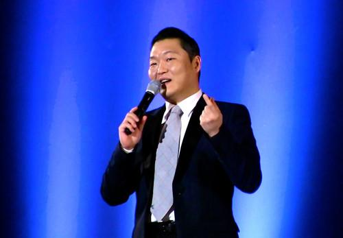 """South Korean rapper Psy talks about the origin of """"Gangnam Style"""" at the 2015 Computer-Human Interaction Conference in Seoul this week. He initially resisted suggestions to upload the song's video to YouTube, believing no one outside South Korea would be interested. It has since broken all viewership records on the site."""