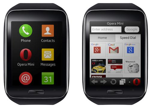 The Opera Mini browser on Samsung Gear S smart watch.