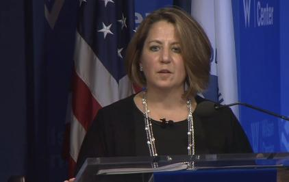 Lisa Monaco, assistant to President Barack Obama for homeland security and counterterrorism, announces a new cyberthreat intelligence center Tuesday.