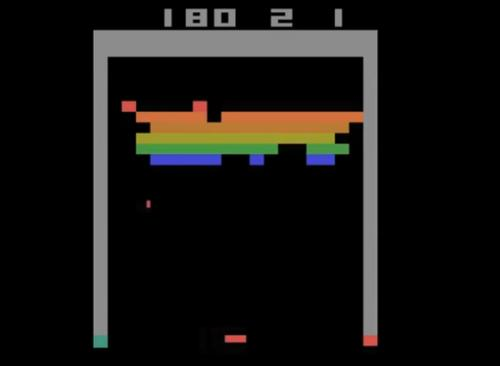In this screenshot of a Google DeepMind artificial intelligence program playing the Atari game Breakout, the program has learned to create a tunnel through the wall of blocks and send a ball through it to destroy more blocks, improving its score.