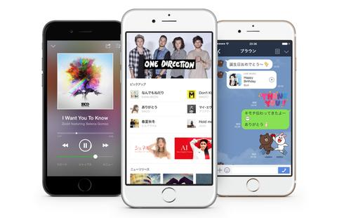Screenshots from Line Music, a music streaming service launched in Japan on June 11, 2015, that will feature domestic and foreign artists.