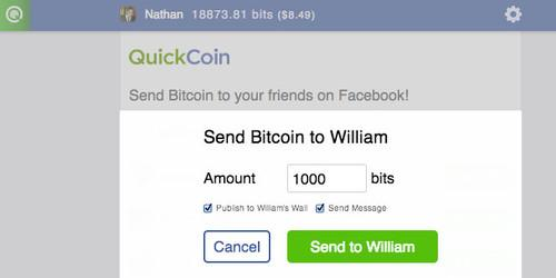 QuickCoin's bitcoin app for Facebook lets users send the cryptocurrency around for free.