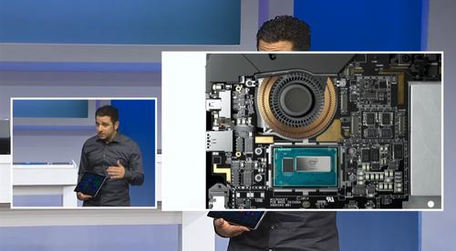 "The Surface Pro 3 isn't fanless, but Panos Panay says ""we reinvented the fan to make it 30 percent more efficient than any fan in any product today, radially emit air so you never feel it or hear it or see it."""