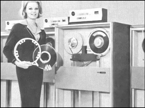 Data on Tape: The Computer Hall of Fame (1951) started a new trend in data storage: magnetic tape. IBM soon began using reels of magnetic tape (similar to the audio tape of the time) for computer data storage, and the rest of the industry followed suit. Computer tape, usually stored in open reels, generally consisted of thin strips of plastic coated with a magnetically sensitive substance that computers wrote to and read from by means of electronic heads embedded in a special tape drive. Numerous production computer models (especially mainframes and minicomputers) used open-reel tape as a mass storage medium until the 1970s and 1980s, when designers switched in increasing numbers to tape cartridges. Photo: IBM