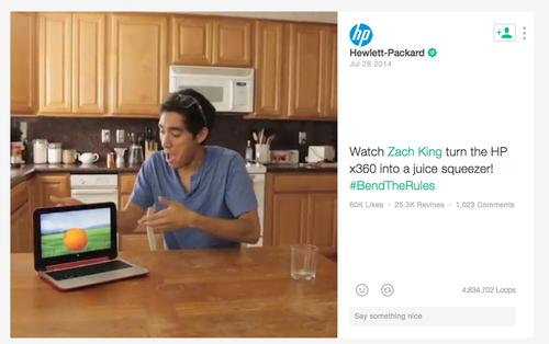 Twitter's partnership with Niche helped to create this ad for Hewlett-Packard on Vine.
