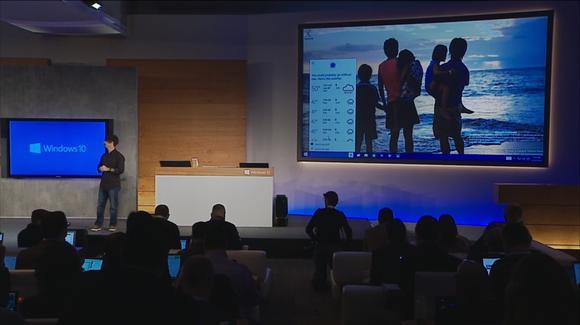 Microsoft's Joe Belfiore displays Cortana on a Windows 10 PC.