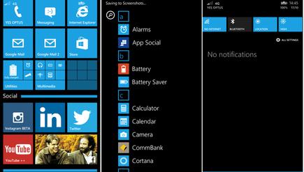 The Windows Phone 8.1 interface