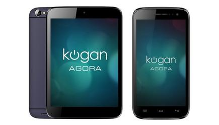 The Kogan Agora HD Mini 3G tablet and the Kogan Agora HD+ smarphone (not to scale).